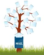 Mailbox on tree - stock illustration