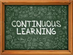 Continuous Learning - Hand Drawn on Green Chalkboard Stock Illustration