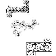Set of vintage seamless borders Corner Elements. Victorian and chinese style. Stock Illustration