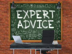 Expert Advice Concept. Doodle Icons on Chalkboard - stock illustration