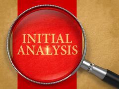 Initial Analysis Concept through Magnifier - stock illustration