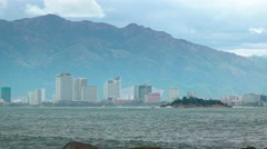 Contemporary Architecture of Nha Trang, Vietnam, from across the Bay - stock footage