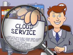 Cloud Service through Magnifier. Doodle Concept - stock illustration