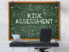 Hand Drawn Risk Assessment on Office Chalkboard - stock illustration