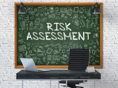 Hand Drawn Risk Assessment on Office Chalkboard Stock Illustration