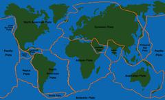 Plate Tectonics World Map Faultlines - stock illustration