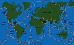 Plate Tectonics World Map Faultlines Stock Illustration