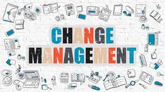 Change Management Concept with Doodle Design Icons - stock illustration
