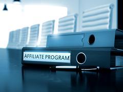 Affiliate Program on Office Binder. Toned Image - stock illustration