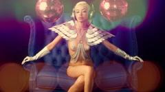 4k gold sexy babe gogo dancer diva party disco woman Stock Footage