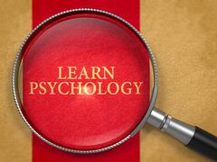 Learn Psychology through Loupe on Old Paper - stock illustration