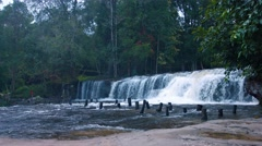 Natural Waterfall at Phnom Kulen National Park in Cambodia, with Sound Stock Footage