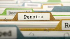 File Folder Labeled as Pension - stock illustration