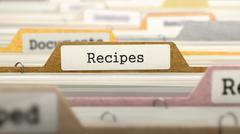 Recipes Concept. Folders in Catalog - stock illustration