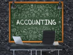 Accounting on Chalkboard with Doodle Icons - stock illustration