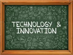 Technology and Innovation - Hand Drawn on Green Chalkboard - stock illustration
