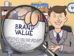 Brand Value through Magnifier. Doodle Concept - stock illustration