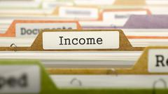 File Folder Labeled as Income Stock Illustration