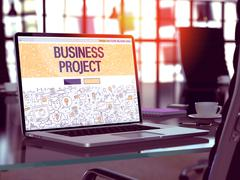 Laptop Screen with Business Project Concept Stock Illustration