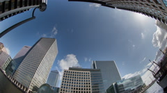 4k docklands canary wharf london finance city money business offices - stock footage