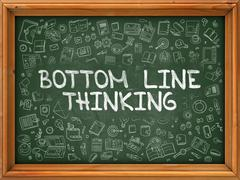 Bottom Line Thinking - Hand Drawn on Green Chalkboard Stock Illustration