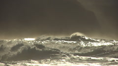 Ocean storm waves wind waves sunset Stock Footage