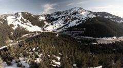 Aerial View: Stevens Pass Washington Stock Footage