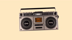 ghettoblaster hifi retro stereo music party 4k - stock footage