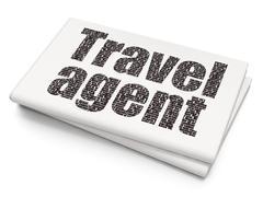 Tourism concept: Travel Agent on Blank Newspaper background Stock Illustration