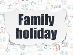 Vacation concept: Family Holiday on Torn Paper background Piirros