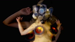 Gasmask erotic sexy gogo dancer freaky 4k Stock Footage
