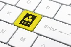 Politics concept: Ballot on computer keyboard background - stock illustration