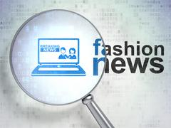 News concept: Breaking News On Laptop and Fashion News with optical glass - stock illustration