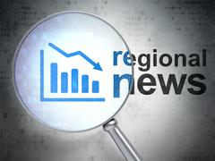 News concept: Decline Graph and Regional News with optical glass Stock Illustration