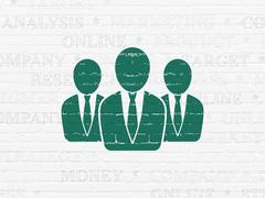 Advertising concept: Business People on wall background - stock illustration
