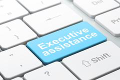 Finance concept: Executive Assistance on computer keyboard background - stock illustration