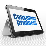Business concept: Tablet Computer with Consumer Products on display - stock illustration