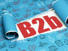 Business concept: red text B2b under the piece of  torn paper Stock Illustration