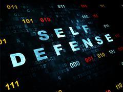 Security concept: Self Defense on Digital background - stock illustration