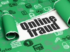 Security concept: black text Online Fraud under the piece of  torn paper - stock illustration