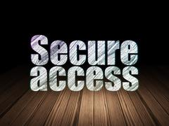 Safety concept: Secure Access in grunge dark room - stock illustration