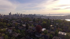 Aerial Pan of Downtown Seattle Skyline Stock Footage