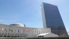 United Nations headquarter building in New York Stock Footage