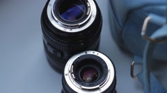 Pair of camera lenses at photo shoot behind the stage - stock footage