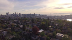 Fly Over Trees to Reveal Downtown Seattle Buildings in Epic View of Skyline Stock Footage