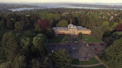 Seattle Asian Art Museum in Aerial Shot with Lake Washington in Distance Stock Footage