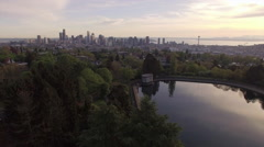 View of Downtown Seattle from Aerial Shot Above Volunteer Park Water Reservoi Stock Footage