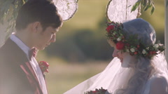 Bride With Tenderness Looks at the Groom - stock footage