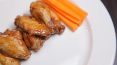 Fried chicken with cucumbers and carrots - stock footage