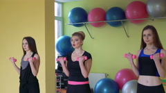 Female group doing exercise with dumbbells synchronously in a gym. 4k - stock footage